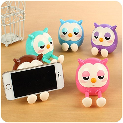 CoCocina Cartoon Lovely Owl Multi-function Mobile Phone Stents Stand Holder Piggy Bank -Blue