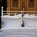 Bedlinen Set Silver White Linen Piping