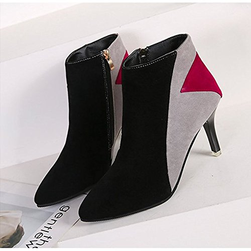 Fashion Booties Nubuck Boots leather HSXZ Brown Toe Comfort Shoes Casual Winter ZHZNVX Gray High Pointed Fall PU for Brown Heel Women's Boots Ankle Boots ztPaWqw