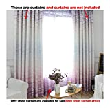 ASide BSide Leisure Style Rod Pocket Top Sheer Curtains Brick Wall Printed Breathable Window Decoration For Kitchen Sitting Room and Houseroom (1 Panel, W 52 x L 84 inch, Purple)