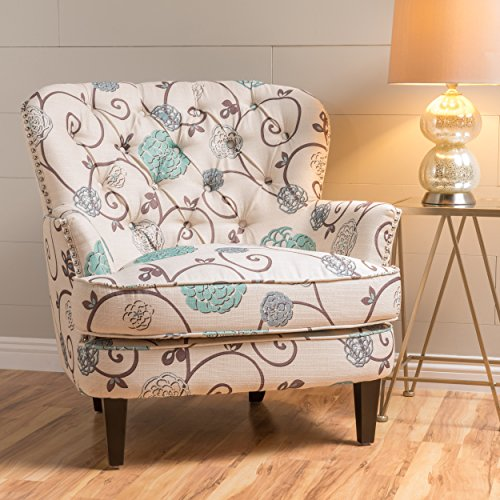 Alfred White and Blue Floral Fabric Upholstered Club Chair (Blue Upholstered Chair)