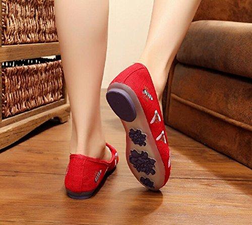 Lazutom - Mocasines de Lona para mujer rojo Red