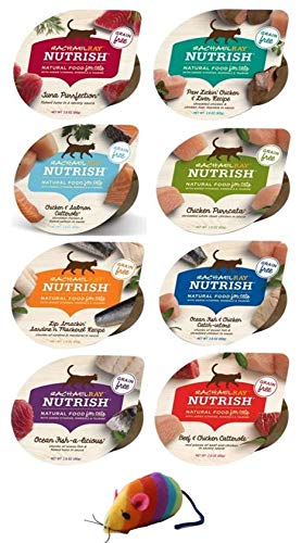 Rachel Ray Nutrish Grain Free Natural Wet Cat Food Variety Pack - 8 Flavor Bundle, 2.8 Oz Each - Pack of 8, Plus Rainbow Rattle Mouse & Weatherproof Animal Sticker Mouse (10 Items Total)