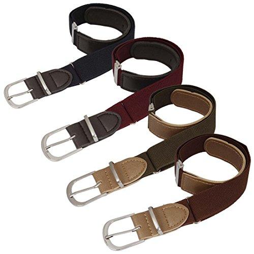 [BMC Boys 4pc Plain Dark Color Adjustable Elastic Band With Leather Loop Belt Set] (Little Boys Belts)