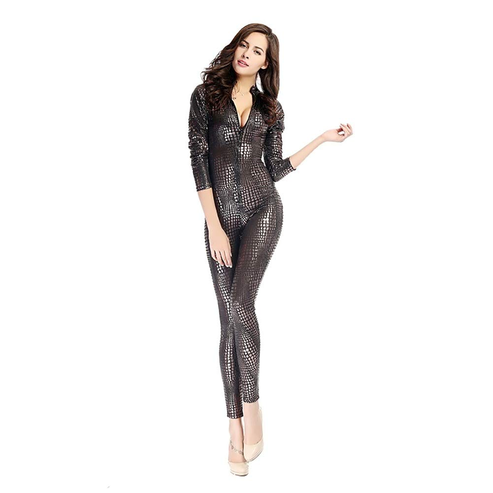 cb805090553c FUNFSEX Women Sexy Metal Black Gold Silver Snake Skin Faux Leather Zipper  Fornt Bandage Jumpsuit Bodysuit Catsuit Overall