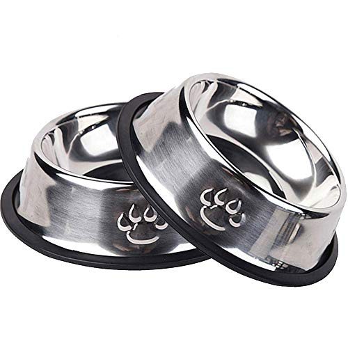 BESSEEK Cat Bowls Stainless Steel Ruggedness Pets Travel Feed Utensils, Dry Food & Water Bowls for Dogs, Non-Skid with Natural Rubber Base Puppy Bowls for Dogs Cats and Pets, 2 Pack