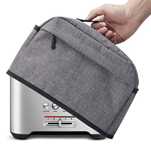 BGD 2 Slice Toaster Cover with Zipper & Open Pockets Kitchen Small Appliance Cover with Handle, Dust and Fingerprint Protection, Machine Washable, Grey