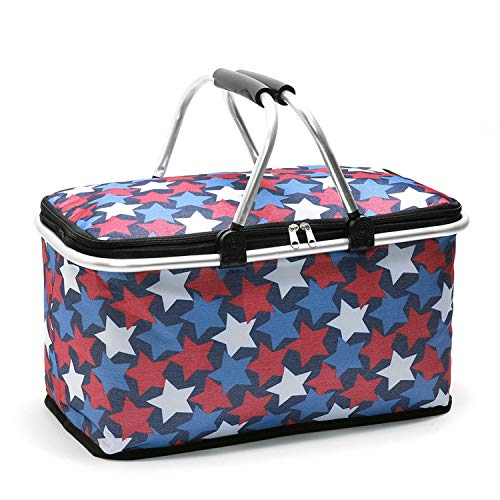 29L New Picnic Bag Picnic Basket Lunch Basket Foldable Insulated Thermal Camping Bags Cooler Lunch Tote for Outdoor Food,Red White,China ()