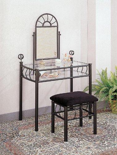 Black Metal Bedroom Vanity - Coaster Vanity Set Includes, Vanity Table, Mirror and Bench, Sunburst Design, Black Finish Metal