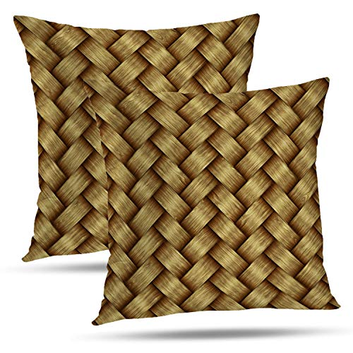 Batmerry Striped Pillow Covers 18x18 Inch Set of 2, High Woven Computer Woven Wood Backdrop Basket Brown Country Floor Double Sided Decorative Pillows Cases Throw Pillows Covers