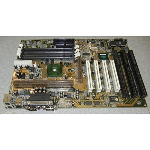 Soyo SY-6KBE Slot 1 Pentium II motherboard with 3ISA slots, 4PCI, 1 AGP. Intel 82440LX chipset. 4DIMM sockets, 2 USB, 2 x 9 pin serial ports, 1 printer port. ATX form factor.