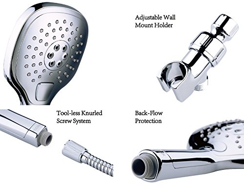 FEIDAR Ultra-Luxury Handheld Shower Head with High Pressure 3 setting Push-Control Massage Spa Water Saving Button and Stainless Steel Hose&Angle Adjustable Bracket, Chrome (OVAL SQUARE) by FEIDAR (Image #4)