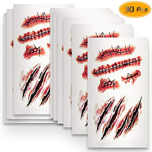 WFPLUS 30 Pieces Horror Halloween Scar Tattoo, Waterproof Temporary Tattoos, Realistic Fake Blood and Scar Cuts for Halloween Masquerade, Prank Makeup Props