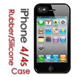 iPhone 4 4S Rubber Silicone Case - Back of case is picture of Front screen iphone 4 VERY COOL by icecream design