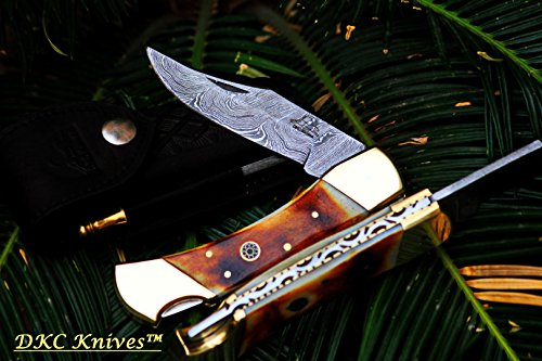 DKC-36-STAG-9-Long-5-Folded-68oz-Damascus-Folding-Pocket-Knife-DKC-Knives-Hand-Made-Incredible-Look-and-Feel