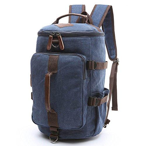 Men's Canvas Backpack Travel Duffel Backpack Bag Large School Bookbag 3-In-1 (Blue-1)