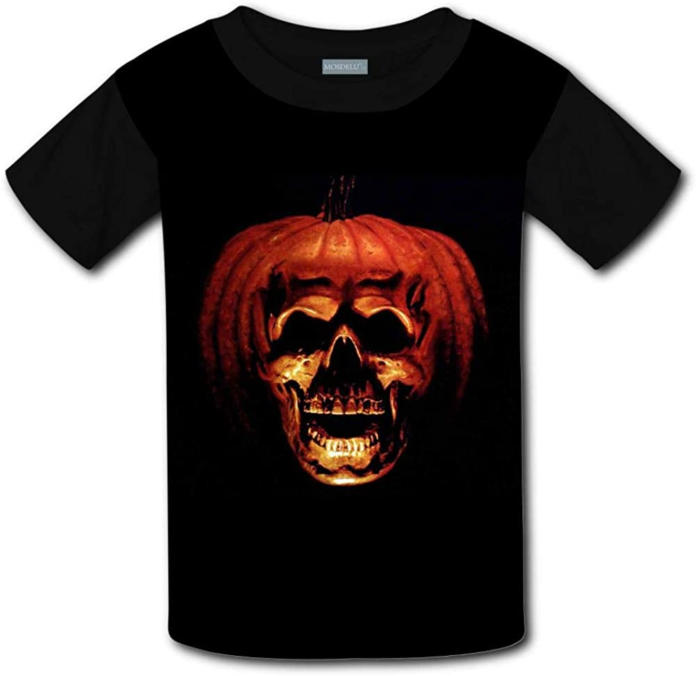 Malcolm Eddie Childrens T-Shirts Scary Pumpkin Unisex Short Sleeve Tee for Kids//Youth//Boys//Girls