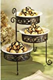 Home Essentials & Beyond 22144 Metal Scroll 3 Tier Rack With Plates