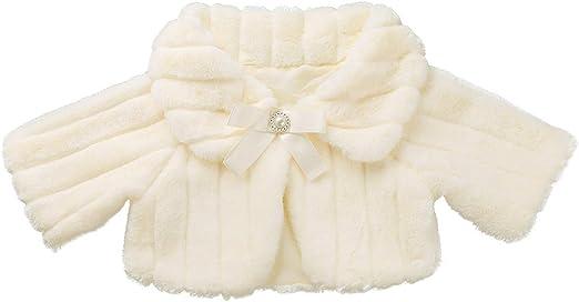 YiZYiF Girls Long Sleeve Faux Fur Bolero Wedding Party Princess Cape Jacket