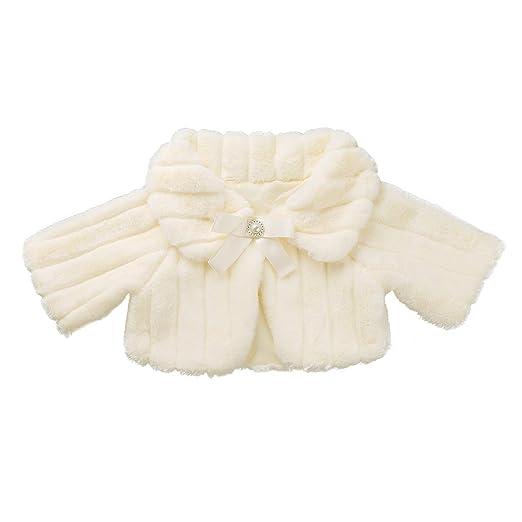 ee803f4044b FEESHOW Flower Girls Faux Fur Bolero Shrug Princess Shoulder Cape Wedding  Dress Shawl Wrap Stole Champagne