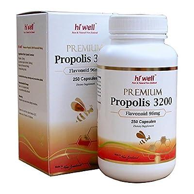 Hi Well Premium Bee Propolis 3200 Flavonoid 96mg 250 Capsules New Zealand Bee Immune Support Vitamins Minerals & Antioxidants