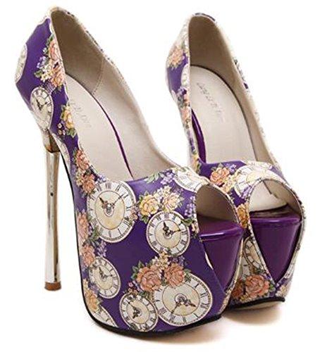 Aisun Damen Blumen Muster Offene Zehe Plateau High Heels Sandalen Violett 35 EU iXqaS02