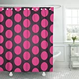 Pink and Purple Polka Dot Shower Curtain TOMPOP Shower Curtain Pink Abstract Patterned Dark with Large Purple Polka Dots Application Waterproof Polyester Fabric 72 x 78 Inches Set with Hooks