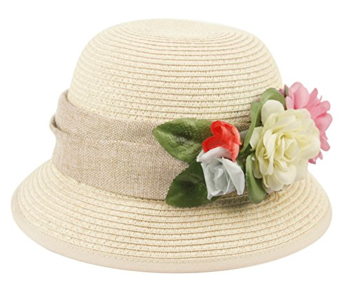 Women's Gatsby Linen Cloche Hat with Lace Band and Flower (CL2796NATURAL)