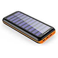Solar Charger BERNET 24000mAh Ultra High Capacity Portable Solar Power Bank with USB Fan and 3 USB Ports External Battery Pack Phone Charger for iPhone iPad Samsung HTC Cellphones and More (Orange)
