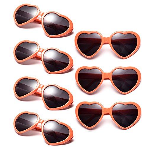 Neon Colors Party Favor Supplies Wholesale Heart Sunglasses (7 Pack - Orange With Sunglasses