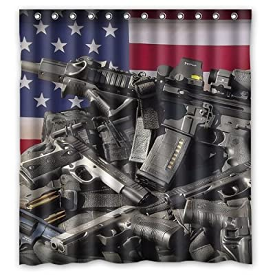 Nice Weapons Rifle Guns Ammo Background Waterproof Shower Curtain Bath Decor Size 66 X 72 Popular And Cheap