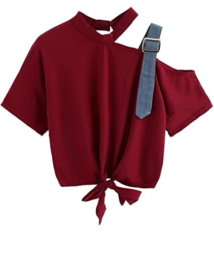 38673961203e Romwe Women s Asymmetrical Neck Short Sleeve Tie Front Knot Casual Loose  Crop Top Tee T-
