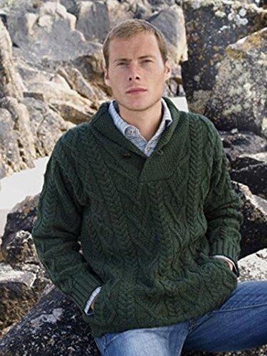 (Shawl Collar Aran Sweater)