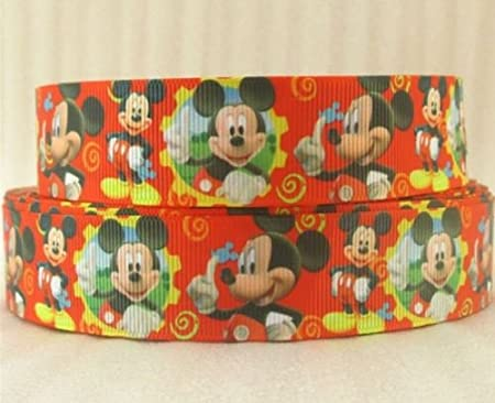 1 x metre MICKEY MOUSE 7//8inch Grosgrain Ribbon Craft Kids Cake Birthday
