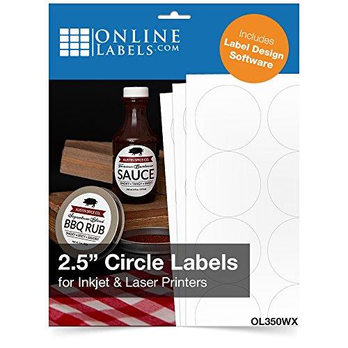 "2.5"" Round Labels - Pack of 3,000 Circle Stickers, 250 Sheets - Inkjet/Laser Printer - Online Labels"