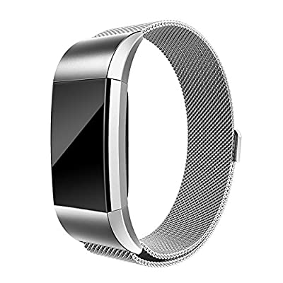 Fitbit Charge 2 Bands, EHHE ZPF Milanese Loop Stainless Steel Metal Bracelet Smart Watch Strap with Unique Magnet Lock Replacement Wristbands for Fitbit Charge 2 Large Small