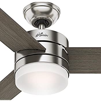 Hunter 59211 52 sentinel ceiling fan with light and remote brushed hunter 54 contemporary ceiling fan with remote control in brushed nickel certified refurbished aloadofball Choice Image