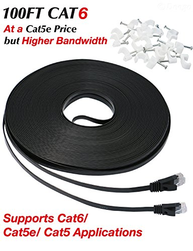 Ethernet Cable 100 ft, Cat 6 Flat Network - Cable Modem Voice Over Ip