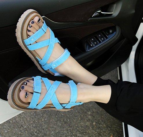 Gladiateur Velcro Semelles De En De W Caoutchouc Bleu Cuir 4 5cm Femmes Gomme Plateforme H En Sandales Sangle Réel amp; 7PqRwxU