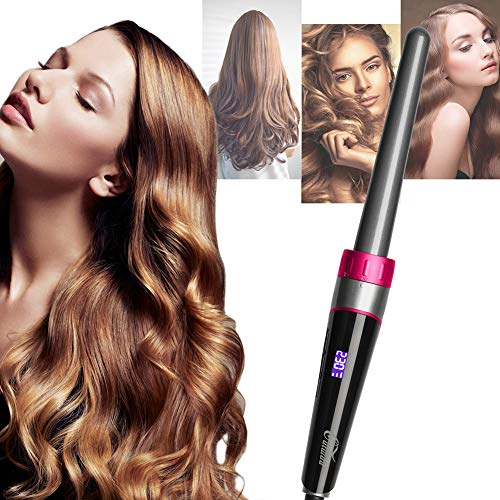 Culwad 5 in 1 Curling Iron Wand Set with 5 Interchangeable Hair Wand Ceramic Barrels with Heat Protective Glove for Girls Women Gift