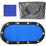 """10 Player 84"""" 3 Fold Folding Texam Hold'em Poker Table Top Blue Suits Speed Cloth Stainless Cup Holder"""