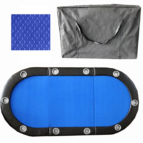 10 Player 84'' 3 Fold Folding Texam Hold'em Poker Table Top Suits Speed Cloth Stainless Cup Holder - Blue by Pong-Buddy