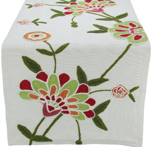 Manor Luxe Crewel Embroidered Floral Table Runner, 15 by 54-Inch, Garden Red ()