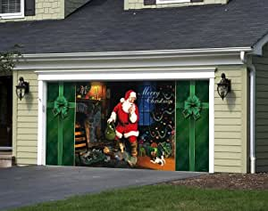 Santa's Secret - Outdoor Christmas Holiday Garage Door Décor 7'x16'