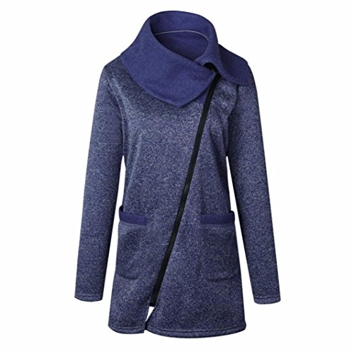 Nmch Women's Casual Long Jacket Coat Zipper Sweatshirt Outwear Tops Plus Size (Blue, - Blue Moncler