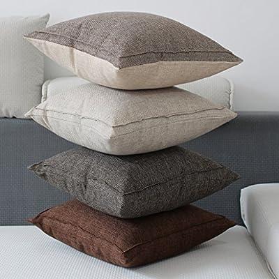 Jepeak Cotton Linen Blend Throw Pillow Cover Square Decorative Burlap Pillowcase Cushion Cover for Sofa