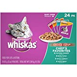 Whiskas CHOICE CUTS Chef's Favorites Variety Pack Wet Cat Food, (24) 3 oz. Pouches