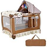 Baby Cot and Change Table Set Baby Crib Brown SBP-249
