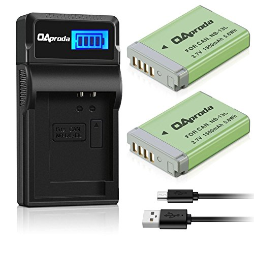 OAproda 2 Pack Fully Decoded NB-13L Battery and Smart LCD Display USB Charger Compatible with Canon PowerShot G5 X, G7 X, G7 X Mark II, G9 X, G9X Mark II, G1 X Mark III, SX620 HS,SX720 HS, SX730 HS