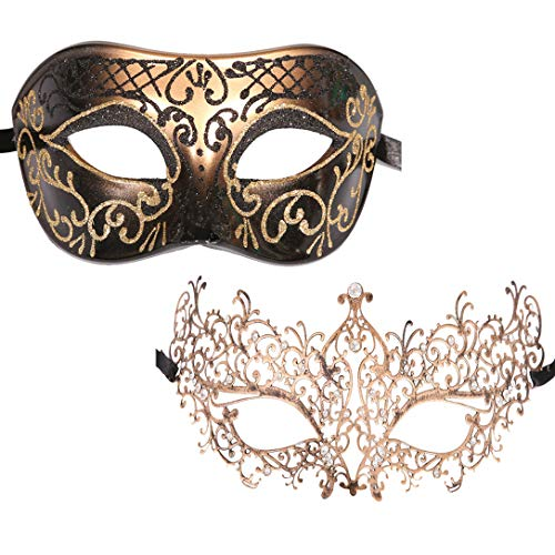 Xvevina Luxury Masquerade Mask 2 Packs Venetian Party Mask Couples (Antique Classic Couple)